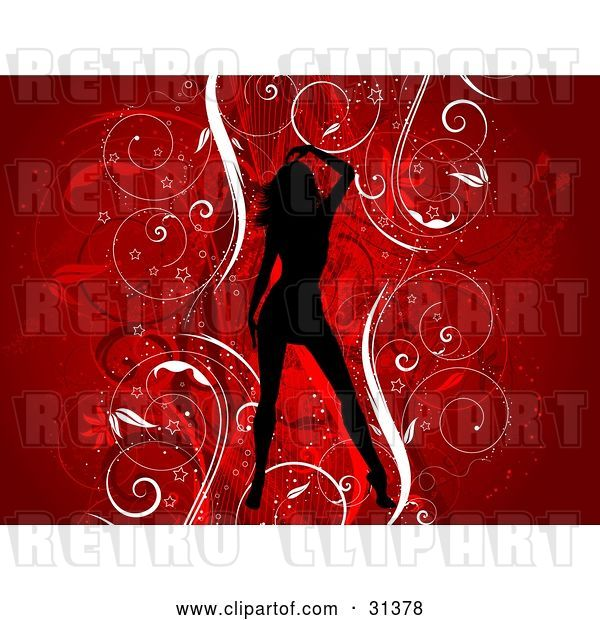 Vector Clip Art of Retro Sexy Black Silhouetted Lady over a Floral Grunge Background of Vines on Red