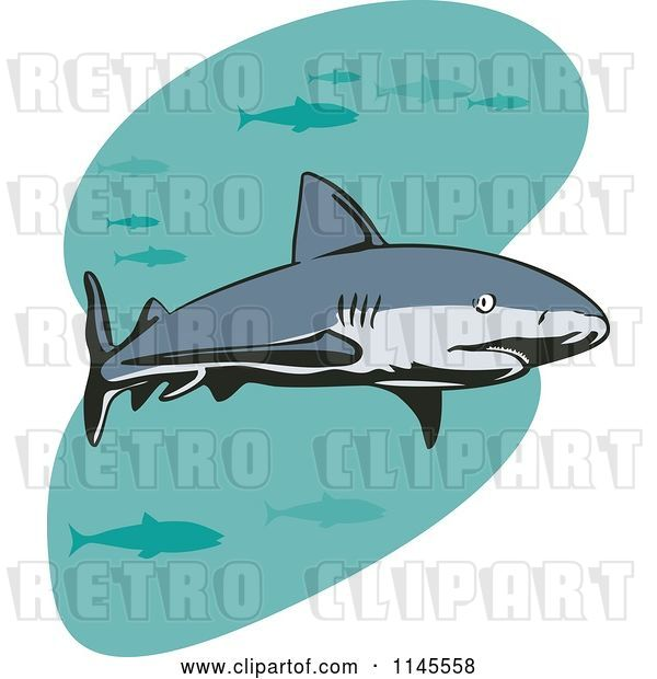 Vector Clip Art of Retro Shark Swimming with Fish 2