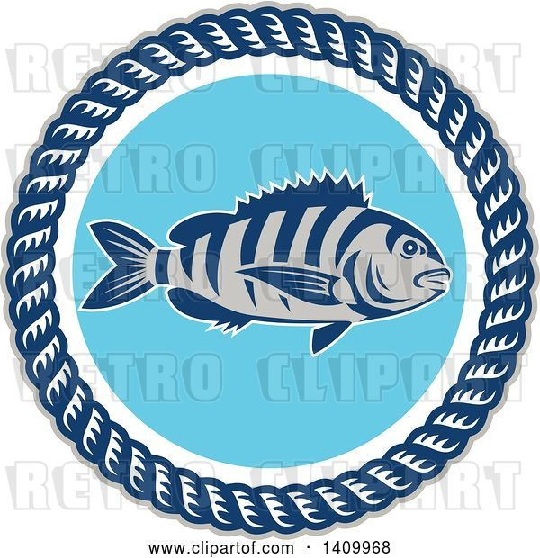 Vector Clip Art of Retro Sheepshead Fish over Blue, in a Frame of Rope