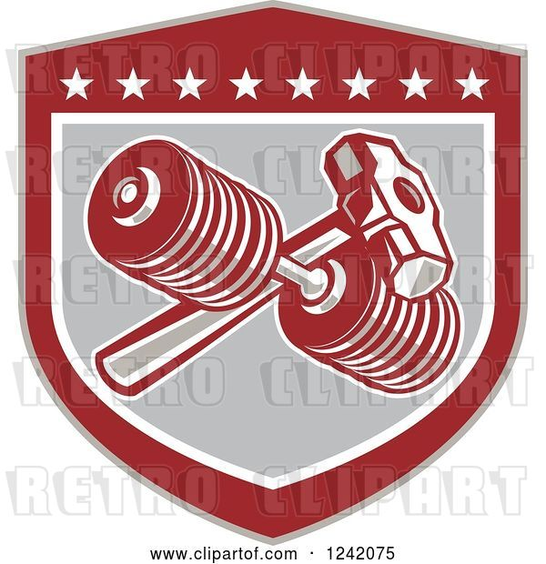 Vector Clip Art of Retro Shield with a Dumbbell and Sledgehammer