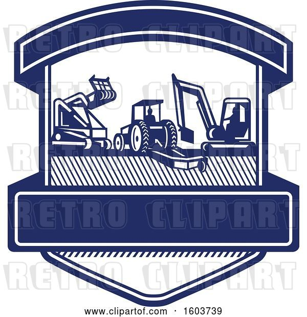 Vector Clip Art of Retro Shield with Heavy Equipment Used in Tree Mulching Bush Hogging and Excavation Services in Blue and White