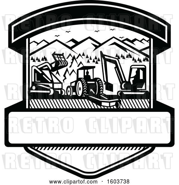 Vector Clip Art of Retro Shield with Heavy Equipment Used in Tree Mulching Bush Hogging and Excavation Services in