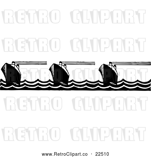 : Vector Clip Art of Retro Ship Border 2