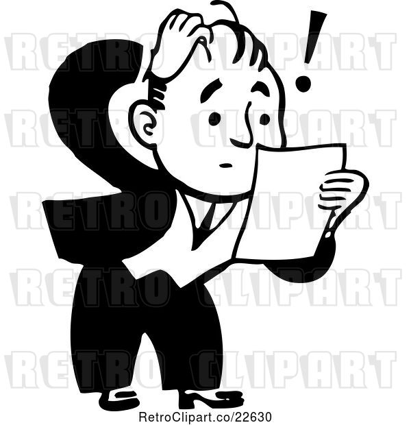 Vector Clip Art of Retro Shocked Guy Reading a Letter