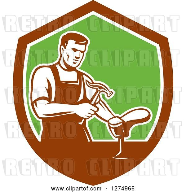 Vector Clip Art of Retro Shoemaker Cobbler Working in a Brown White and Green Shield