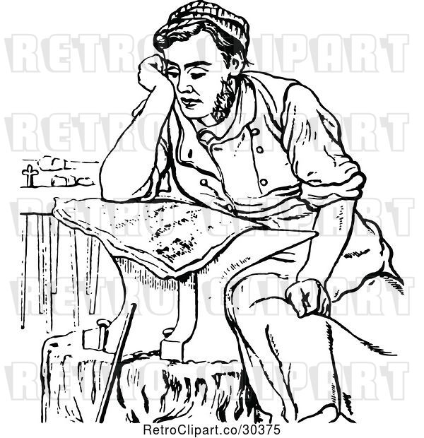 Vector Clip Art of Retro Shoesmith Reading