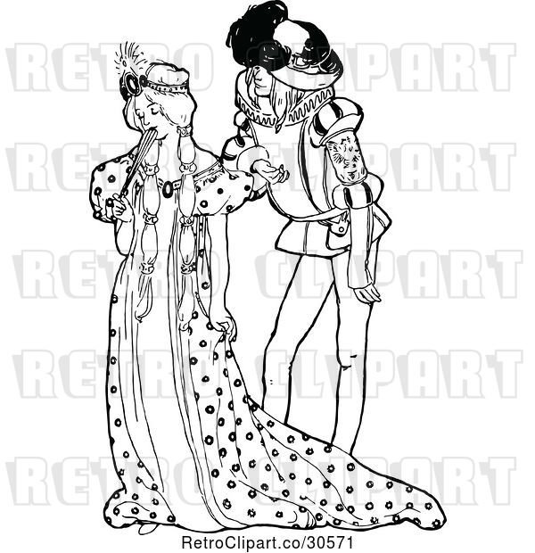 Vector Clip Art of Retro Shy Princess and Guy