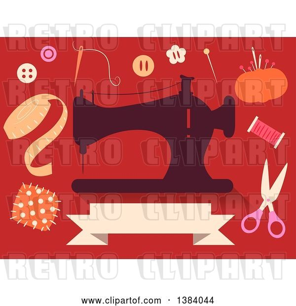 Vector Clip Art of Retro Silhoeutted Sewing Machine and Notions on Red