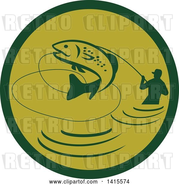 Vector Clip Art of Retro Silhoeutted Wading Fisher Man Reeling in a Jumping Trout in a Green Circle