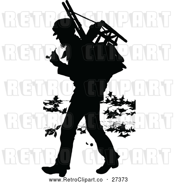 : Vector Clip Art of Retro Silhouette Vagrant Man