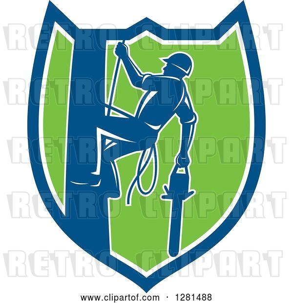 Vector Clip Art of Retro Silhouetted Arborist Climbing a Pole with a Chainsaw in a Blue White and Green Shield