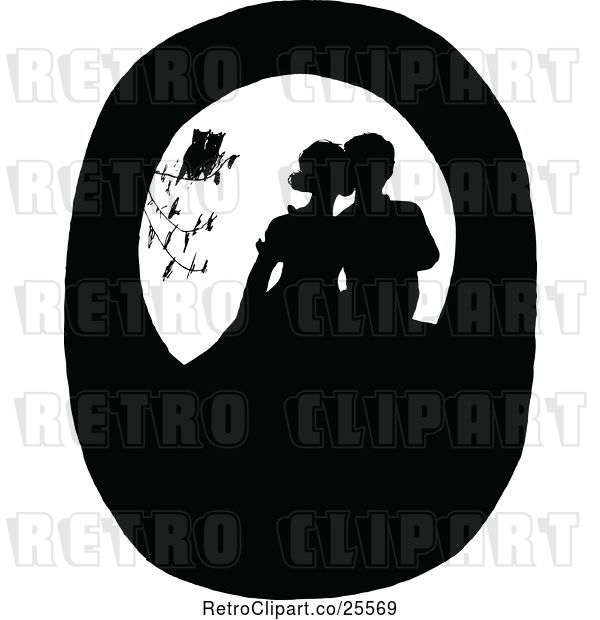 Vector Clip Art of Retro Silhouetted Birds Watching a Couple Kissing