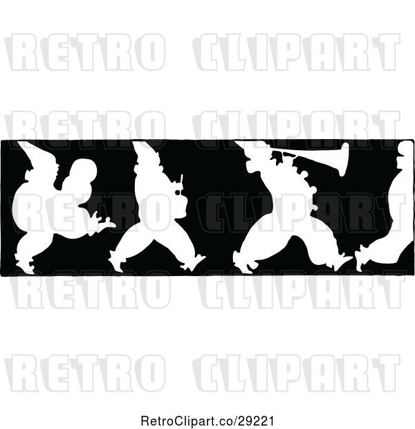 Vector Clip Art of Retro Silhouetted Border of Marching Clowns