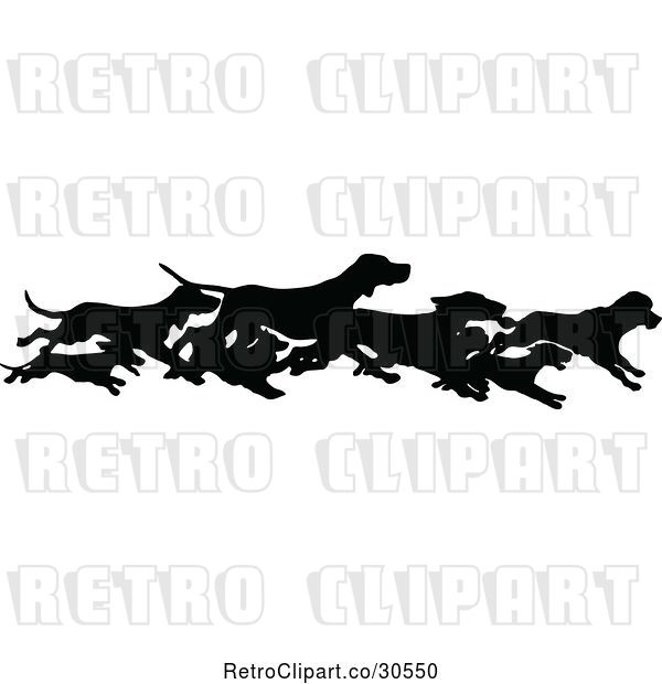 Vector Clip Art of Retro Silhouetted Border of Running Dogs