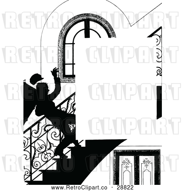 Vector Clip Art of Retro Silhouetted Boy Falling down Stairs Page Border