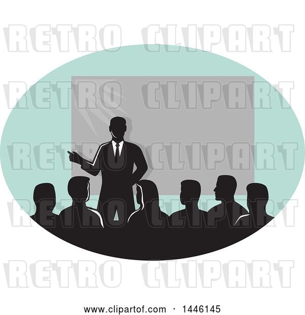 Vector Clip Art of Retro Silhouetted Businessman Giving a Lecture by a Projector in an Oval