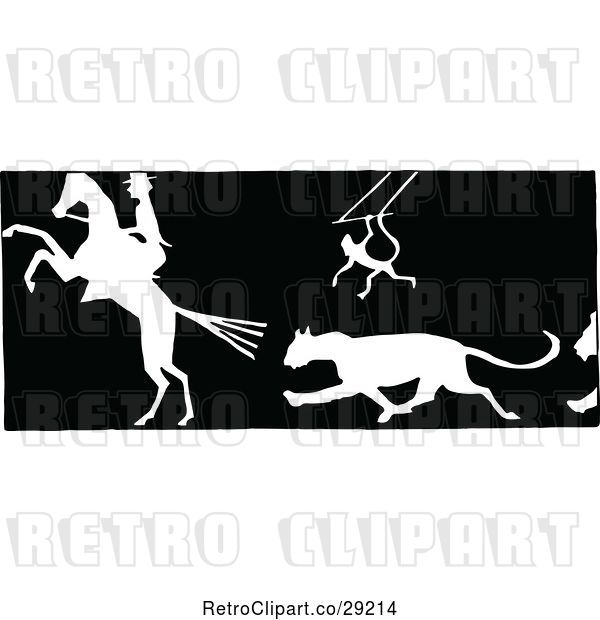 Vector Clip Art of Retro Silhouetted Circus Animals