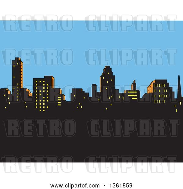 Vector Clip Art of Retro Silhouetted City Skyline Against an Afternoon Sky