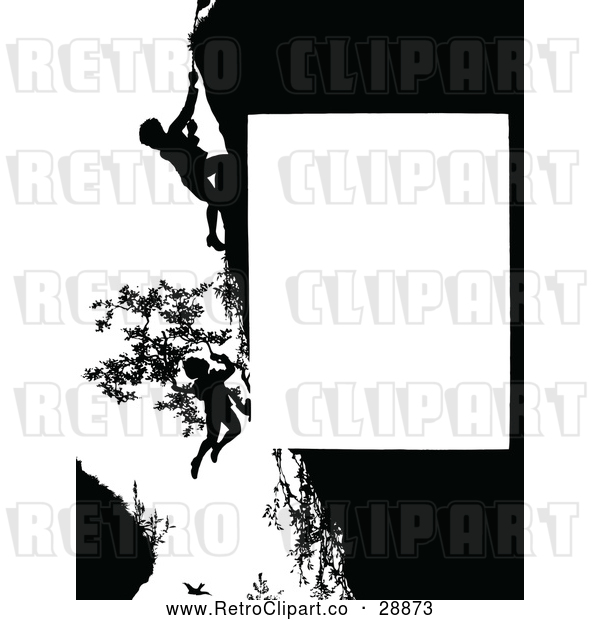 Vector Clip Art of Retro Silhouetted Cliff Rescue Page Border