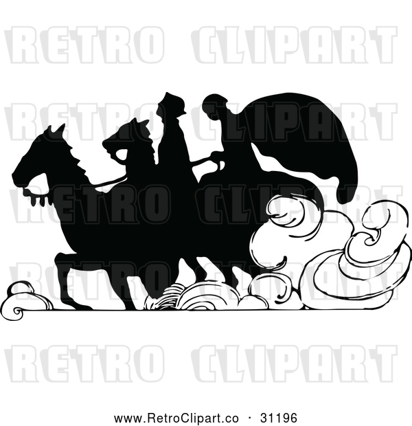 Vector Clip Art of Retro Silhouetted Couple Riding Horses