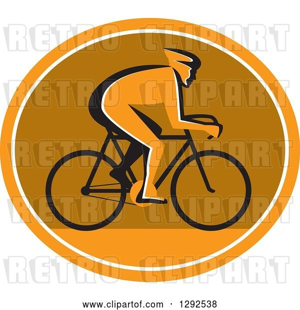 Vector Clip Art of Retro Silhouetted Cyclst in Profile Inside an Orange White and Brown Oval