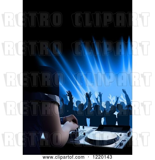 Vector Clip Art of Retro Silhouetted Dancers and a Dj Mixing a Record at a Club