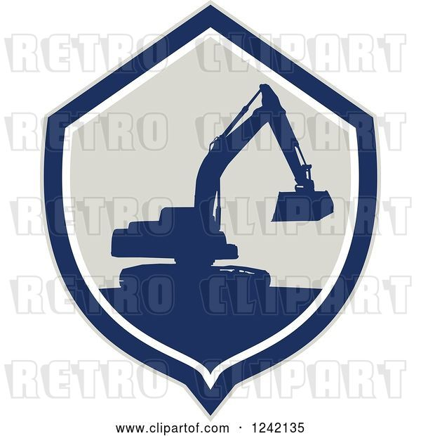 Vector Clip Art of Retro Silhouetted Excavator Machine in a Shield