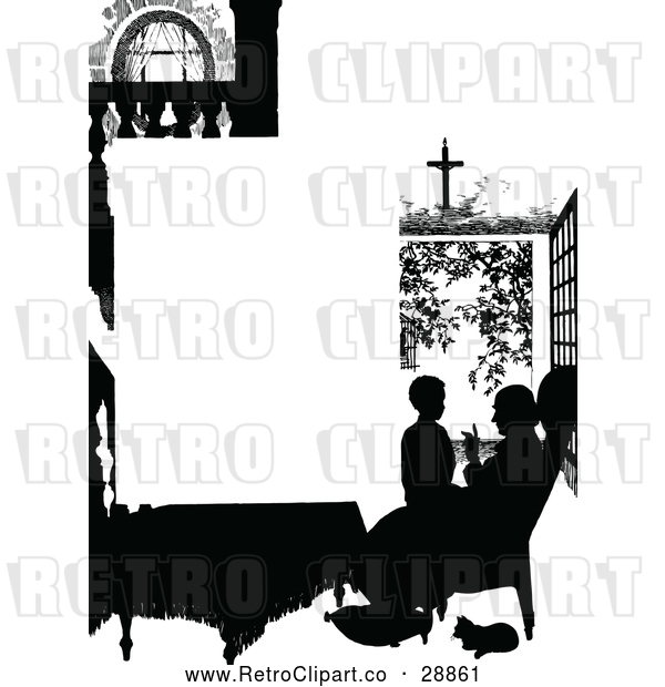 Vector Clip Art of Retro Silhouetted Father and Son Page Border