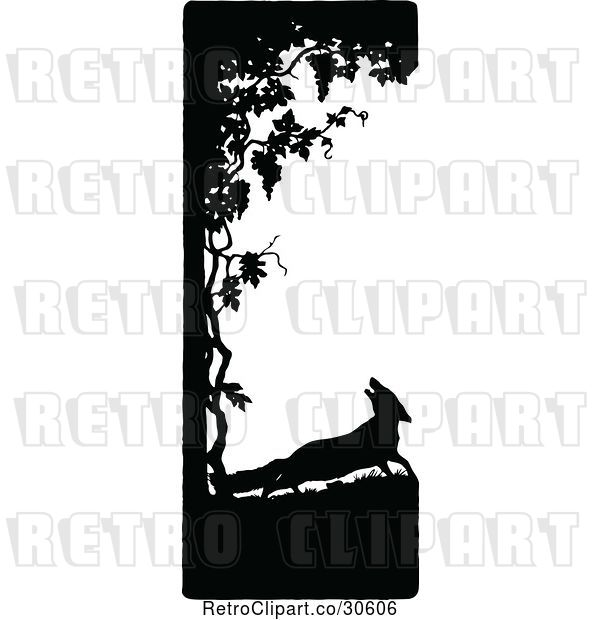 Vector Clip Art of Retro Silhouetted Fox and Tree Border