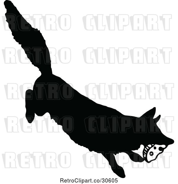 Vector Clip Art of Retro Silhouetted Fox Stealing Food