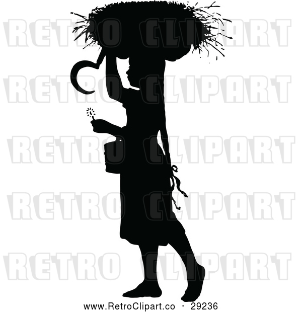 Vector Clip Art of Retro Silhouetted Girl with a Basket on Her Head