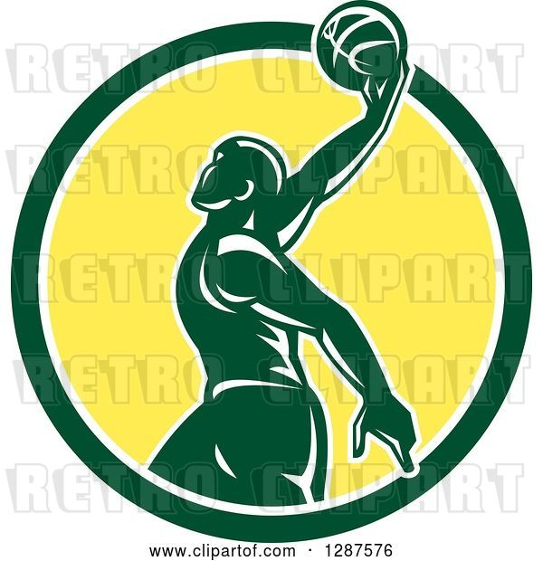 Vector Clip Art of Retro Silhouetted Green Basketball Player Doing a Layup in a Green White and Yellow Circle