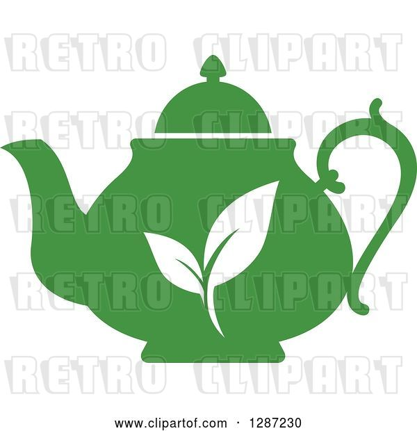 Vector Clip Art of Retro Silhouetted Green Tea Pot with White Leaves