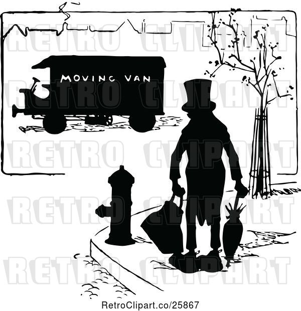 Vector Clip Art of Retro Silhouetted Guy and Moving Van