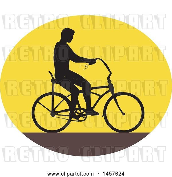 Vector Clip Art of Retro Silhouetted Guy Riding an Easy Rider Bicycle in an Oval