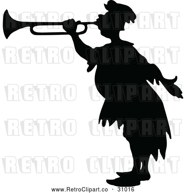 Vector Clip Art of Retro Silhouetted Herald Blowing a Horn