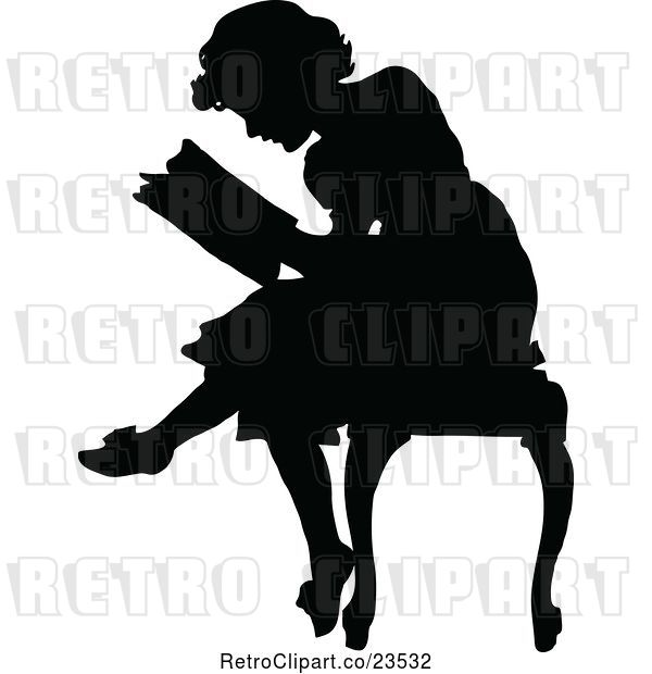 Vector Clip Art of Retro Silhouetted Lady Reading