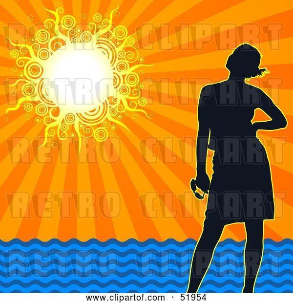 Vector Clip Art of Retro Silhouetted Lady Standing on a Beach Under a Sunset Ocean Sky