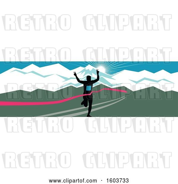 Vector Clip Art of Retro Silhouetted Male Marathon Runner Breaking Through the Finish Line Against a Snow Capped Mountainous Sunset