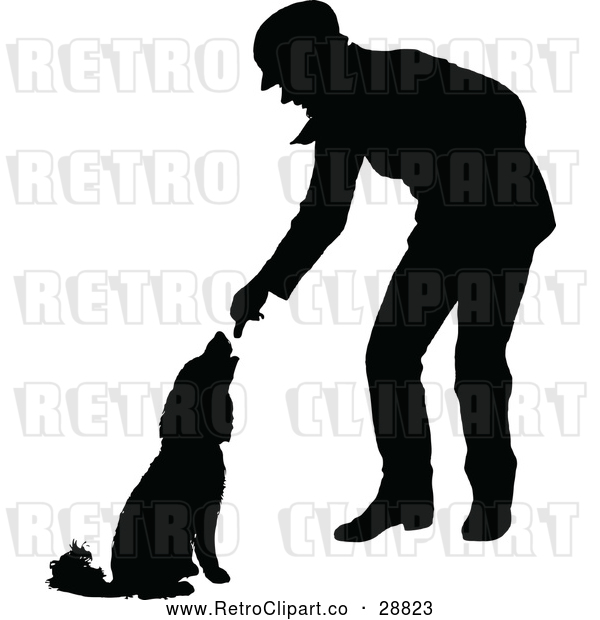 Vector Clip Art of Retro Silhouetted Man Feeding a Dog