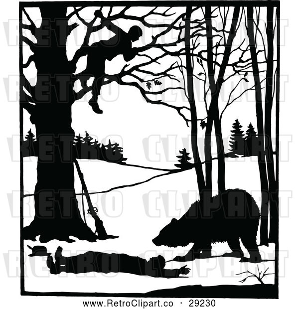 Vector Clip Art of Retro Silhouetted Man in a Tree over a Bear and Attacked Man