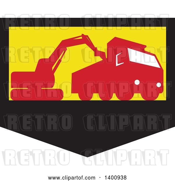 Vector Clip Art of Retro Silhouetted Mechanical Digger Excavator Loading a Dump Truck in a Black Yellow and Red Shield