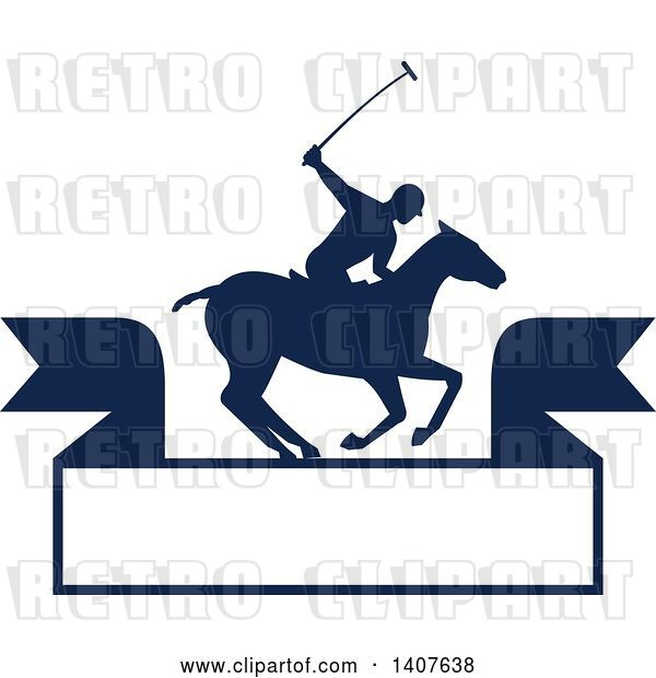 Vector Clip Art of Retro Silhouetted Polo Player on Horseback, Swinging a Mallet over a Banner