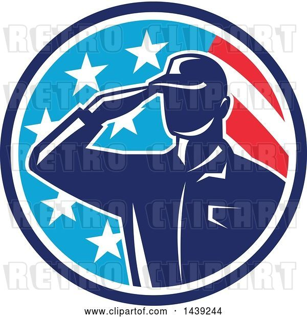 Vector Clip Art of Retro Silhouetted Saluting American Soldier in a Flag Circle