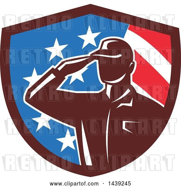 Vector Clip Art of Retro Silhouetted Saluting American Soldier in a Flag Shield