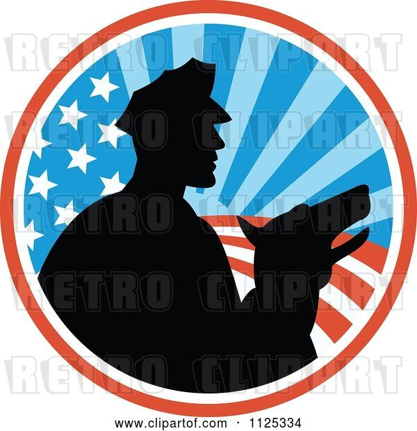 Vector Clip Art of Retro Silhouetted Security Guard and Dog over an American Circle