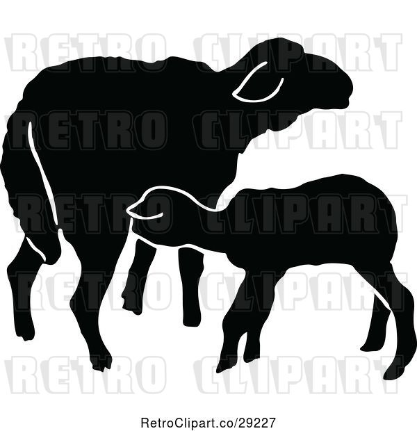 Vector Clip Art of Retro Silhouetted Sheep