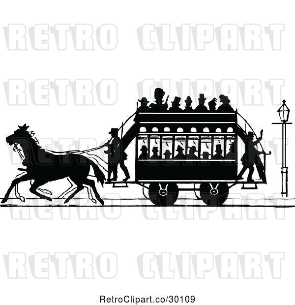 Vector Clip Art of Retro Silhouetted Stage Coach and Passengers 2