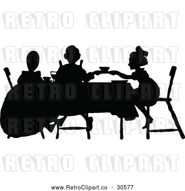 Vector Clip Art of Retro Silhouetted Tea Party with Girls