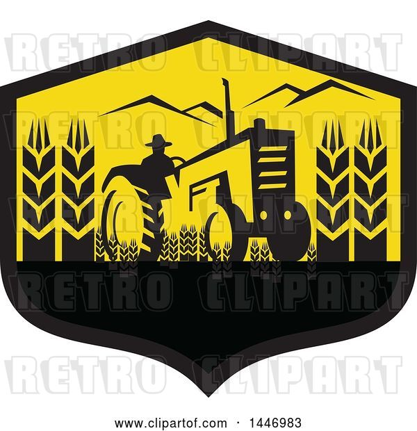 Vector Clip Art of Retro Silhouetted Wheat Farmer Operating a Tractor in a Black and Yellow Crest